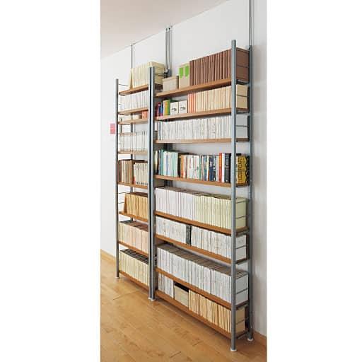奥行選べる木製棚突っ張りスチール書棚の商品画像