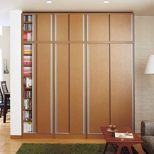 1cm単位で棚板の高さを変える引き戸頑丈本棚 - セシール