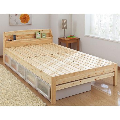 棚付きひのきすのこベッドの写真