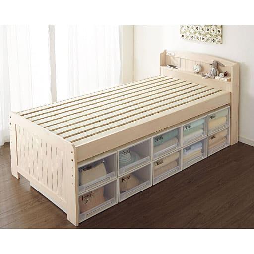 高さ4段階に調整できるすのこベッドの写真
