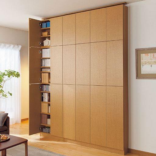 1cm単位で棚板の高さを変える頑丈壁面薄型本棚の写真