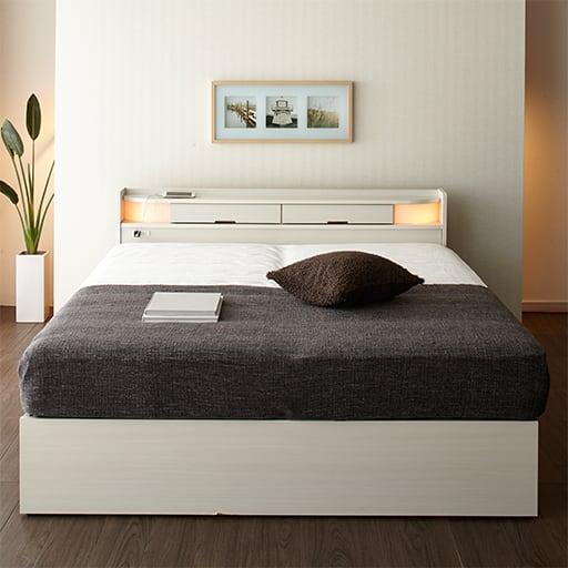 ツインライト付き収納ベッド(引き出し2杯付き)