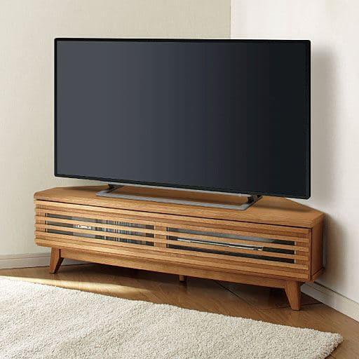 和モダンな格子のコーナーテレビ台の写真