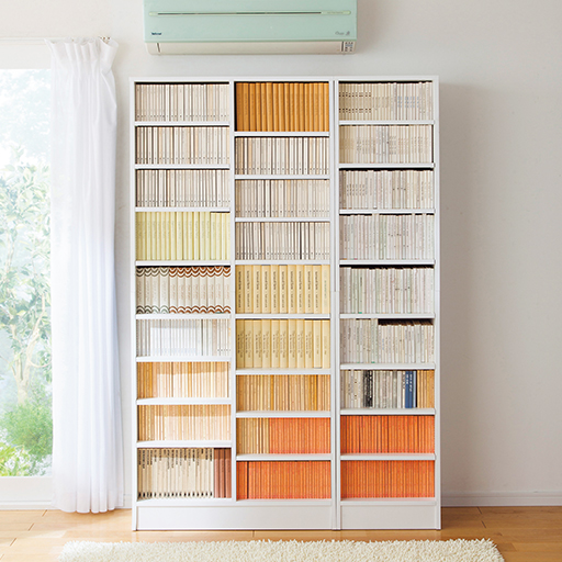 高さ違いの本がすっきり収まる壁面本棚(オープン)の商品画像