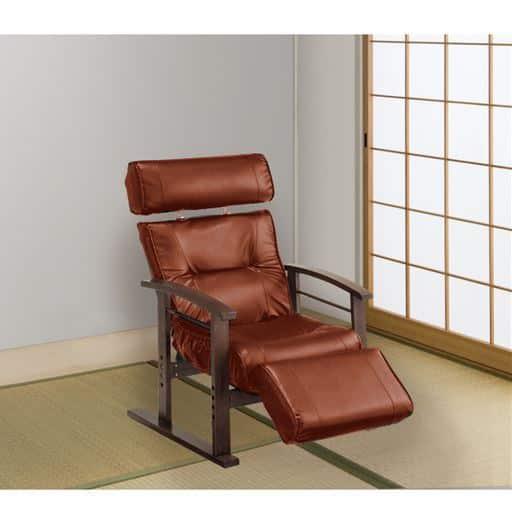 ヘッド・フットレスト付き天然木高座椅子 – セシール
