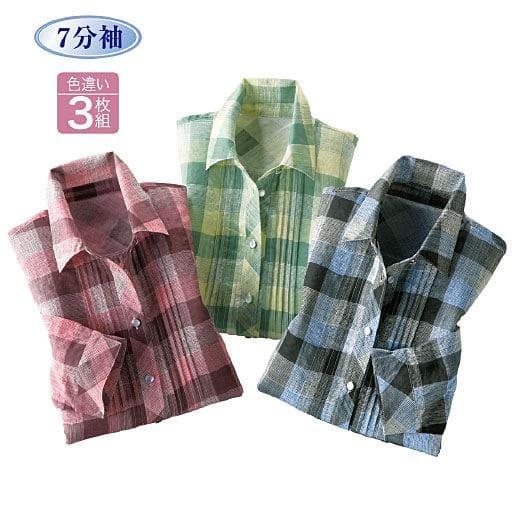 【レディース】 涼やかチェックシャツ(色違い3枚組)の通販