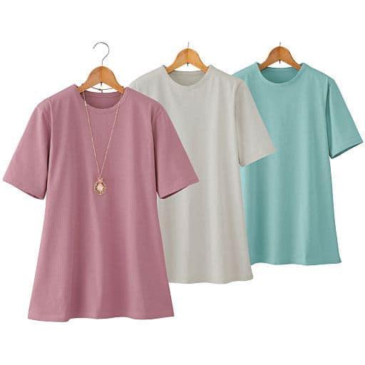 【レディース】 強撚綿100%サラッとTシャツ(色違い3枚組)の通販