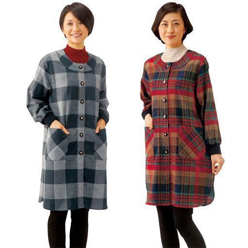 袖口リブロングホームジャケット(色柄違い2枚組) – セシール