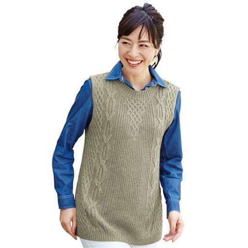 【レディース】 お洒落編み柄のふんわりニットベスト – セシール