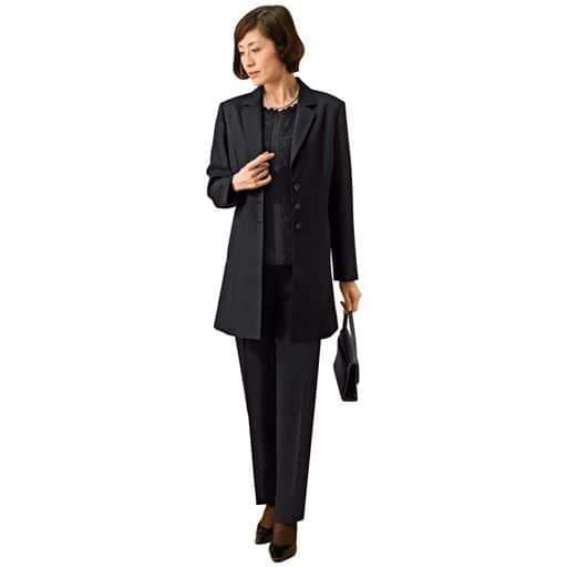 【レディース】 脱ぎ着らくらくブラックフォーマル3点セットスーツ(ジャケット+ブラウス+パンツ) - セシール