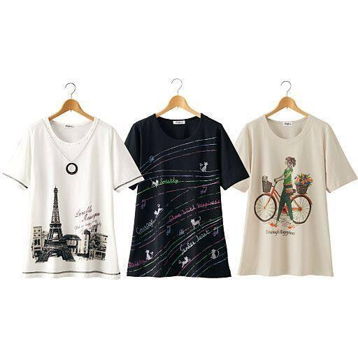 【レディース】 おしゃれなプリントTシャツ(色柄違い3枚組)の通販