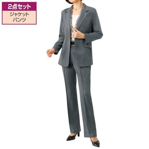 【レディース】 カットソー素材シンプルパンツスーツ - セシール