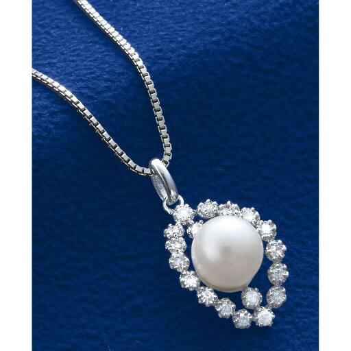 本真珠ダイヤ豪華ペンダント