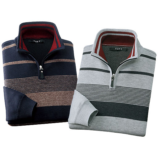 【メンズ】 ハーフジップセーター(色違い2枚組) - セシール