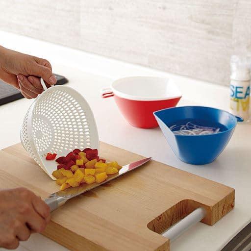切った具材をすくいやすいちりとり, 丸くないザル&ボウルセット - セシール