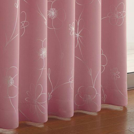 花柄ラメプリント遮光カーテンの写真