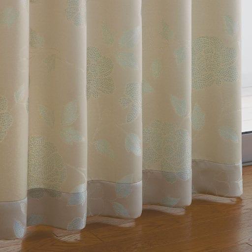 光沢のある花柄ジャカード織りカーテンの商品画像