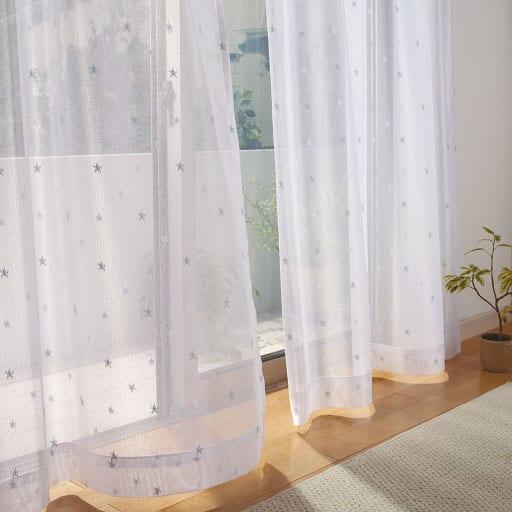 <セシール> 星柄レースカーテン <サイズ>幅130x丈238(2枚組)、幅100x丈253(2枚組)、幅150x丈248(2枚組)、幅100x丈93(2枚組)、幅100 <カラー>ホワイト