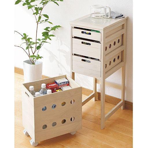 タイル付き天然木キッチン収納ストッカー – セシール