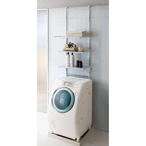 防水パンの内と外に設置できる突っ張りランドリーラック(洗濯機ラック) – セシール