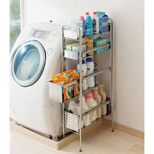 洗濯機横におすすめ!スリムなランドリーラック – セシール