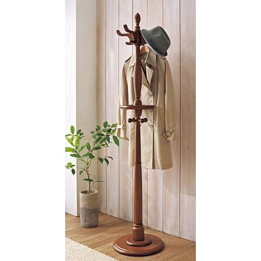 おしゃれなアンティーク調のポールハンガー(木製) – セシール