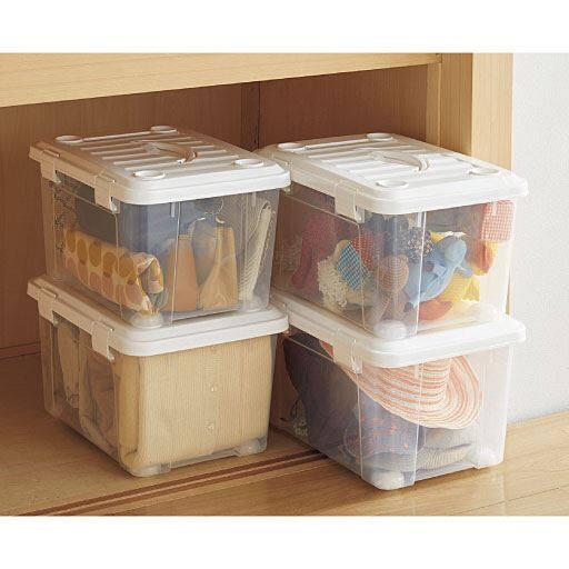 ハンドル付きプラスチック収納ケース(2個セット) – セシール