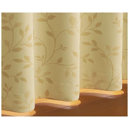 〔形状記憶付き〕落ち着いた色合いの1級遮光カーテン(リーフ柄)の小イメージ