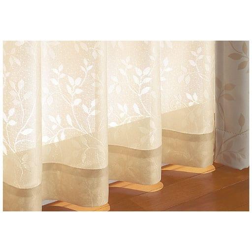〔形状記憶付き〕リーフ柄の防炎ミラーレースカーテン(UVカット)の商品画像