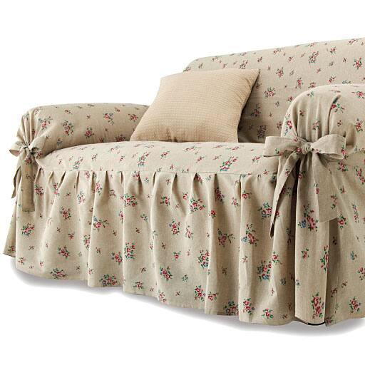 綿混小花柄リボン式ソファカバーの商品画像