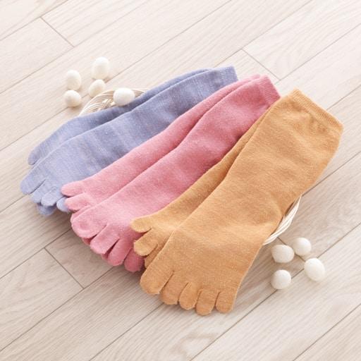 【レディース】 シルク混5本指うるおい靴下 3色組