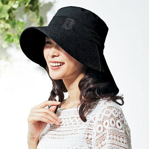 風が通る軽量ケープ付きUV帽子