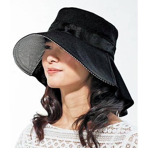 風が通る軽量ケープ付きUV帽子 – セシール