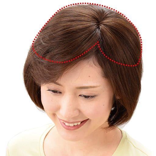 <セシール> 総手植え人毛100% ミニつむじヘアピース ワイド