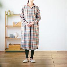 微起毛ビエラゆるシャツワンピース(綿100%)