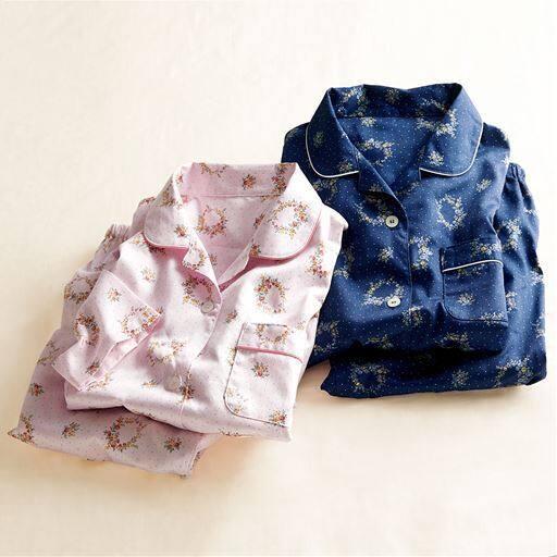 綿100%サテンシャツパジャマ(日本製)