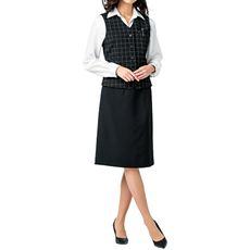 ベストスーツ(ベスト+スカート)(洗濯機OK、撥水、防汚加工、形態安定、ストレッチ素材)(事務服)