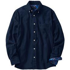 綿100%無地調フランネルシャツ