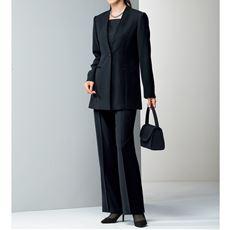 ブラックフォーマルスーツ(ジャケット+パンツ)(リバーシブル胸当て付き)(撥水・日本製生地)