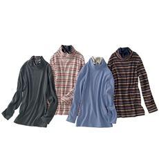 配色ルーズネックTシャツ(S~5L・綿100%)