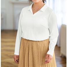 テンセル™繊維・綿 スキッパー衿プルオーバー グラマー用サイズ有(胸のサイズで選べる)