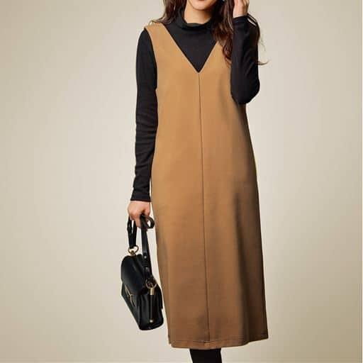 【大きいサイズ プランプ】トレンドを押さえつつきれいに装える!大人に似合うジャンパースカートです。