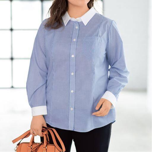 形態安定シャツ(長袖)(UVカット・抗菌防臭) グラマー用サイズ有(胸のサイズで選べる)