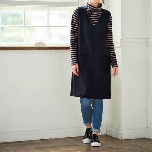 【大きいサイズ プランプ】ふんわりもこもこ♪優しい裏シャギーであったかジャンパースカートです。