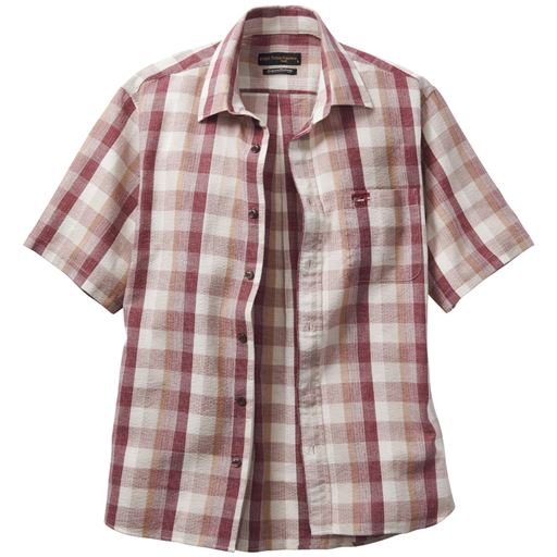 チェック柄しじら織りシャツ