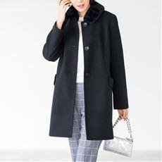 ウールライクファー衿コート