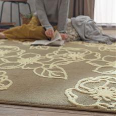 毛布ラグ(ラインフラワー)かわいいバラ柄が素敵 洗濯機で丸洗いOK(ネット使用)