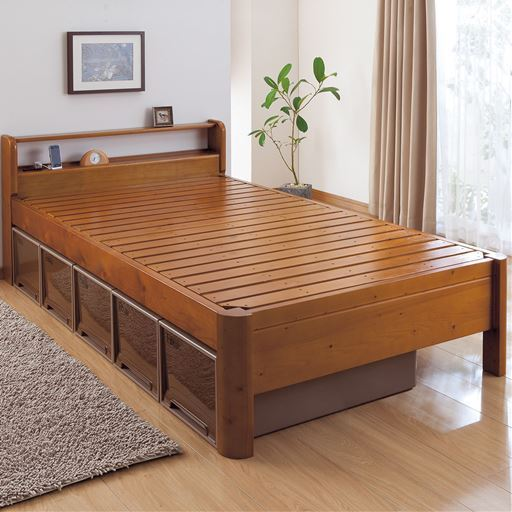 すのこベッド(頑丈・棚付き)