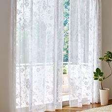 透け感のある草花柄レースカーテン