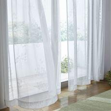 透け感のあるミラーレースカーテン(リーフ柄)